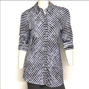 Anthropologie BOHO CHIC Striped Button Blouse Med